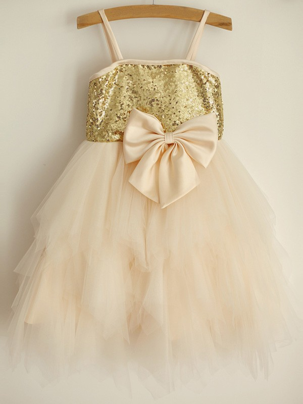 Lovely A-Line Spaghetti Straps Sequin Tulle Knee-Length Flower Girl Dresses