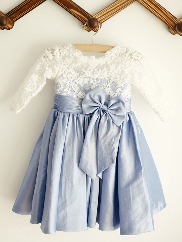 Cute A-Line Scoop Lace Long Sleeves Taffeta Knee-Length Flower Girl Dresses