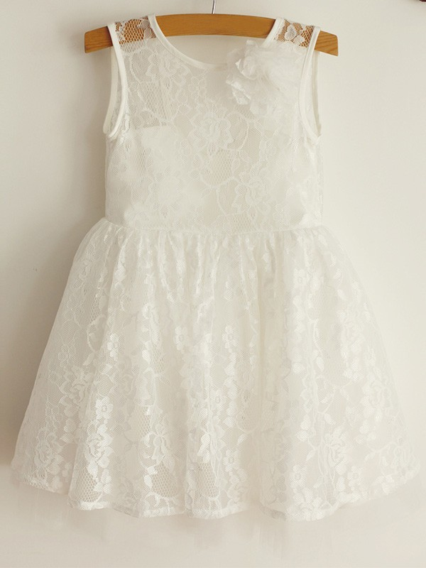 Cute A-Line Scoop Lace Tulle Knee-Length Flower Girl Dresses