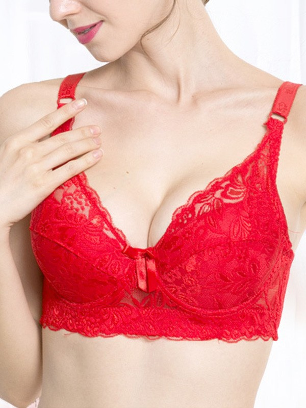 Sexy Lace Back Closure Push Up Bras