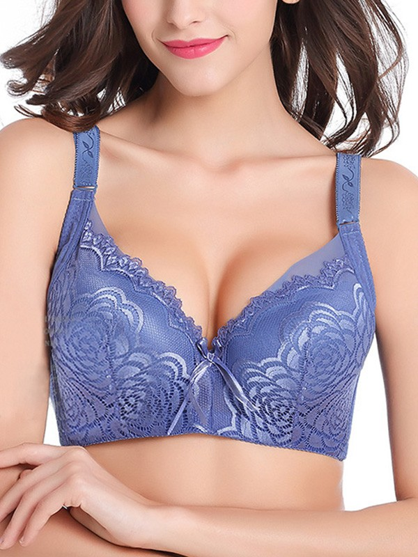 Comfortable Lace With Embroidery Push Up Bras
