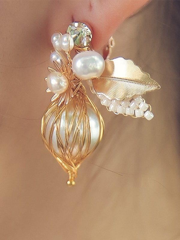 Elegant Alloy With Imitation Pearl Earrings For Ladies