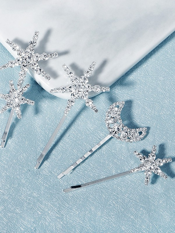 Brilliant Alloy With Rhinestone Hairpins(4 Pieces)