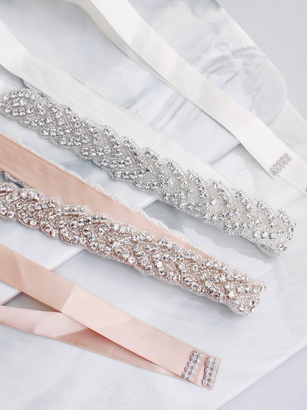 Pretty Satin Sashes With Crystals