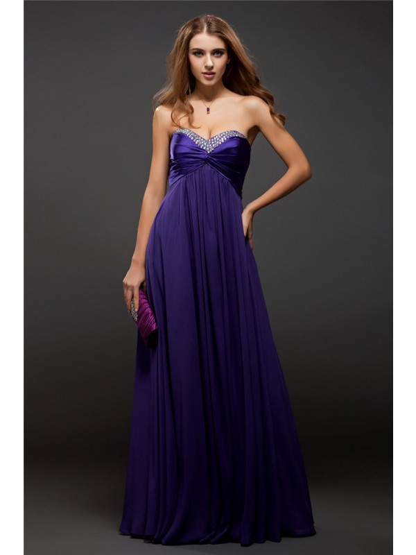 Comfortably Chic Sheath Style Sweetheart Beading Long Chiffon Dresses
