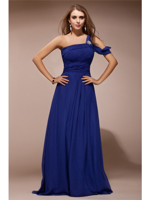 Visual Moment Sheath Style One Shoulder Ruffles Rhinestone Long Chiffon Dresses
