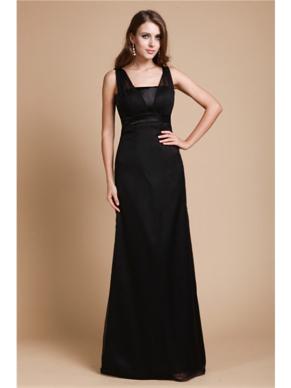 Automatic Classic Sheath Style Belt Long Chiffon Dresses