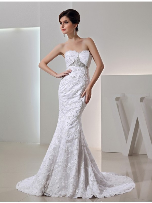 Vibrant Stylist Mermaid Style Beading Sweetheart Long Taffeta Wedding Dresses