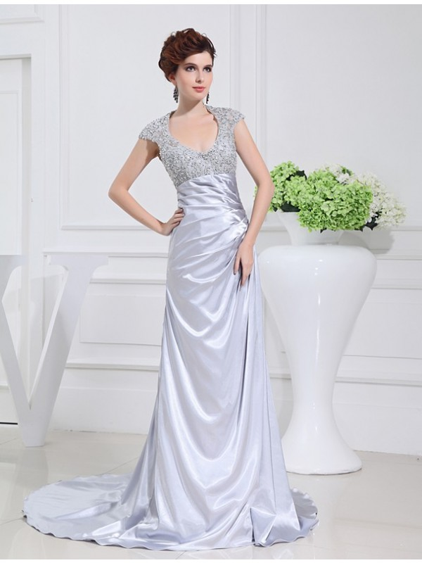 Dancing Queen Princess Style Scoop Long Beading Lace Elastic Woven Satin Dresses