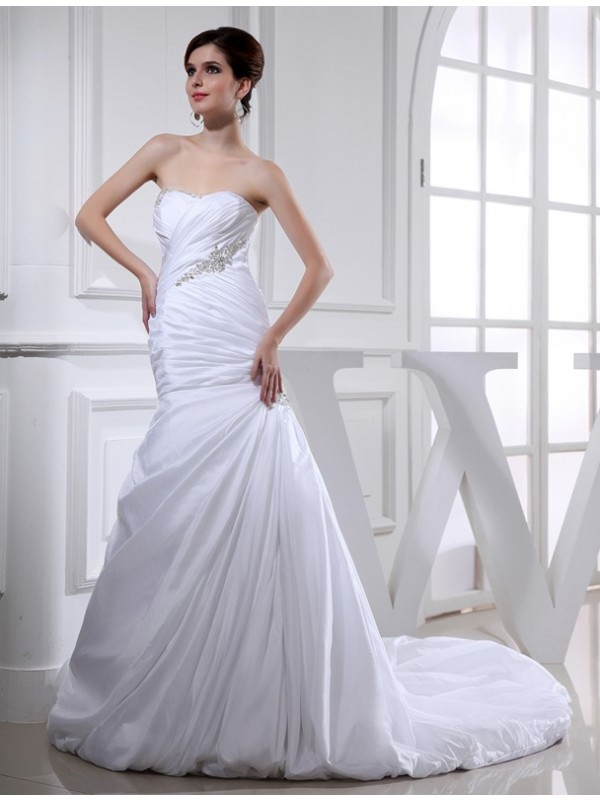Yours Truly Beading Mermaid Style Long Taffeta Wedding Dresses
