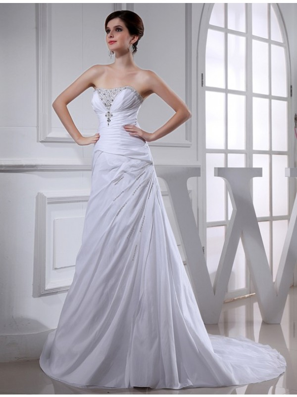 Intuitive Impact Princess Style Beading Long Taffeta Wedding Dresses