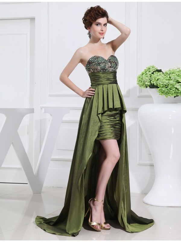 Memorable Magic Princess Style Beading Sweetheart High Low Taffeta Dresses