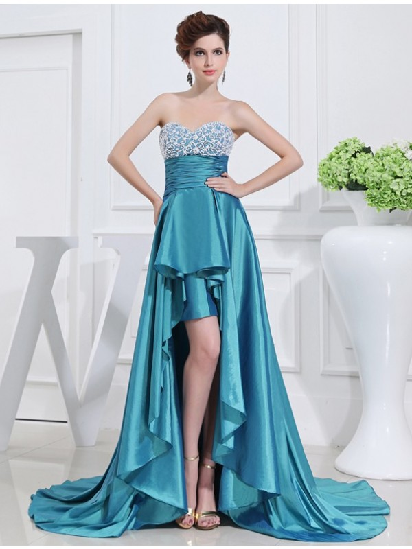 Stylish Refresh Princess Style Beading Sweetheart High Low Taffeta Dresses