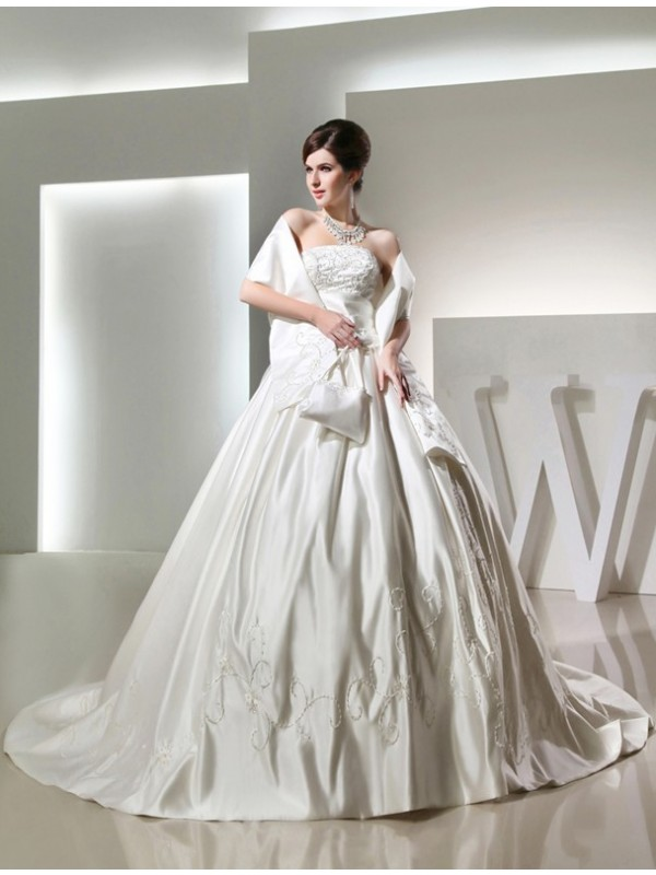 Pleasant Emphasis Ball Gown Beading Long Strapless Satin Wedding Dresses
