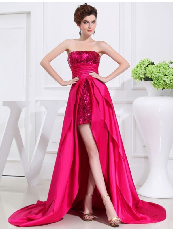 Vibrant Stylist Princess Style High Low Applique Strapless Taffeta Dresses