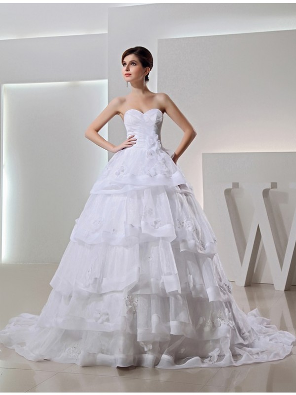 Cordially Delighted Beading Ball Gown Long Organza Sweetheart Applique Wedding Dresses