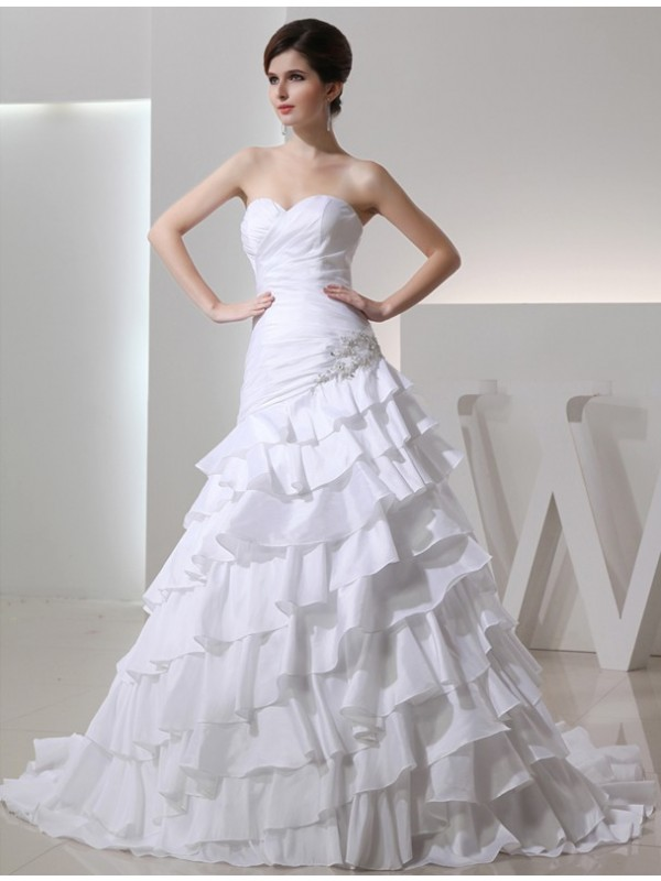 Styled to Smile Princess Style Beading Sweetheart Long Taffeta Wedding Dresses