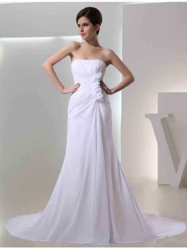 First Impressions Princess Style Beading Strapless Pleated Chiffon Wedding Dresses
