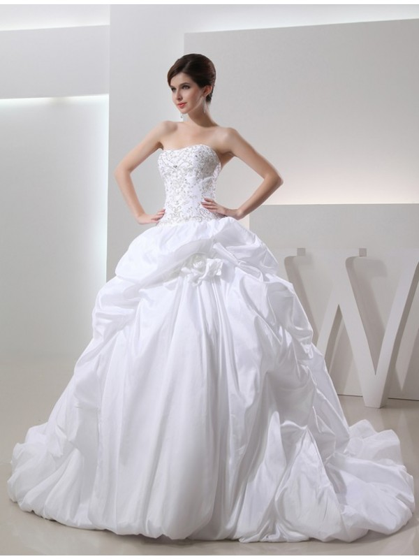 Confident Option Ball Gown Beading Long Taffeta Wedding Dresses
