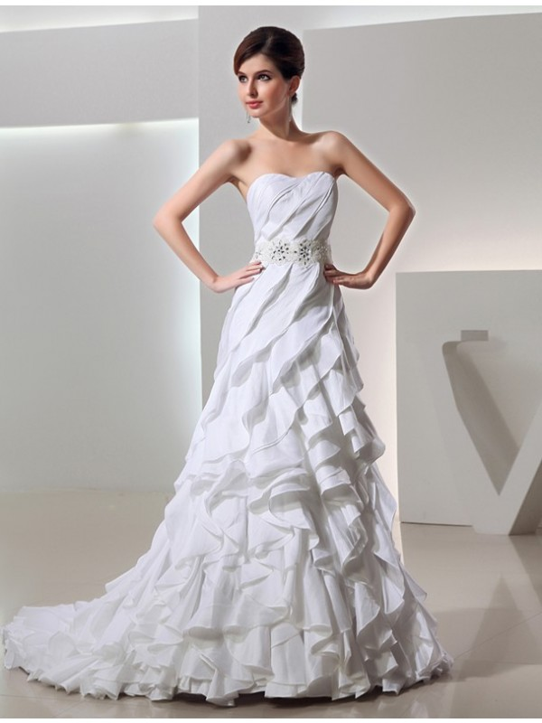 Visual Moment Beading Princess Style Long Sweetheart Taffeta Wedding Dresses