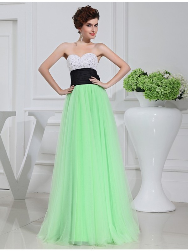 Romantic Vibes Princess Style Beading Satin Tulle Long Dresses
