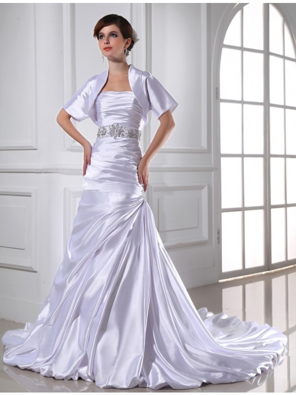 Yours Truly Mermaid Style Beading Strapless Applique Elastic Woven Satin Wedding Dresses