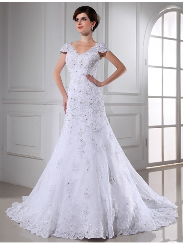 Just My Style Princess Style V-neck Beading Long Organza Wedding Dresses