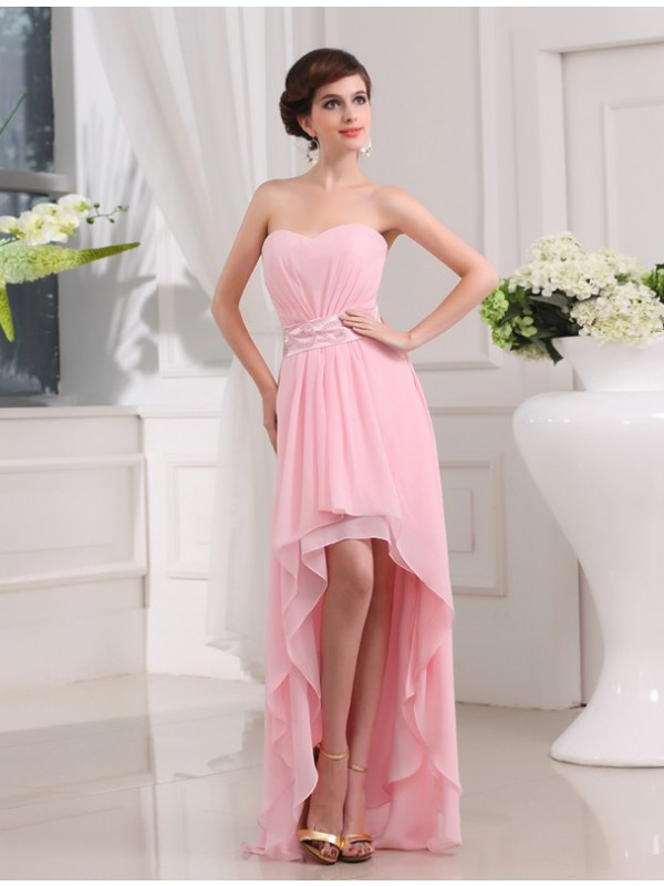 Fresh Picks Princess Style Beading Sweetheart High Low Chiffon Dresses