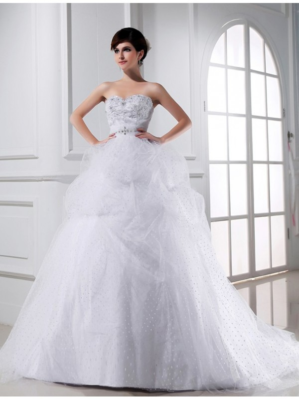 Pretty Looks Ball Gown Beading Sweetheart Applique Satin Tulle Wedding Dresses