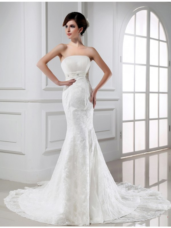 Mermaid Tulle Strapless Sleeveless Chapel Train With Lace Wedding Dresses