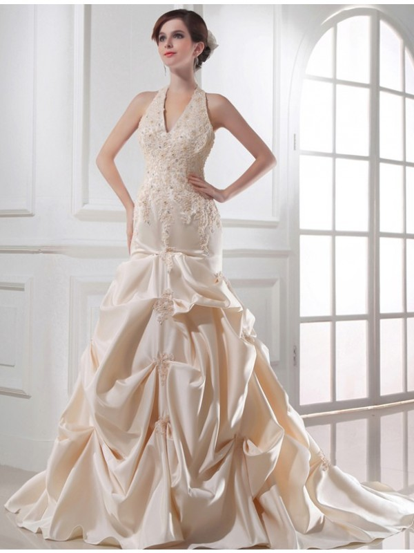 Aesthetic Honesty Mermaid Style Beading Halter Applique Satin Wedding Dresses