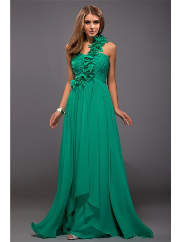 Absolute Lovely Sheath Style One Shoulder Ruffles Hand-Made Flower Long Chiffon Dresses