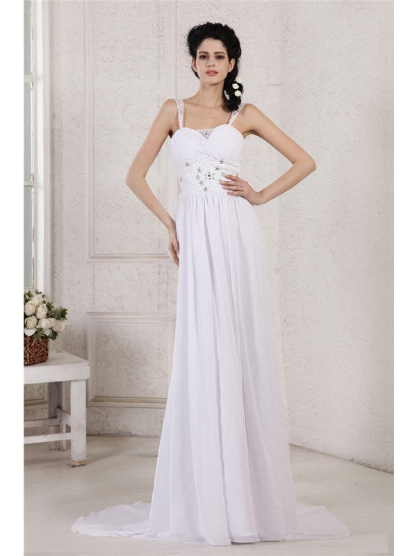 Festive Self Sheath Style Spaghetti Strap Pleats Ruched Beading Applique Long Chiffon Wedding Dresses
