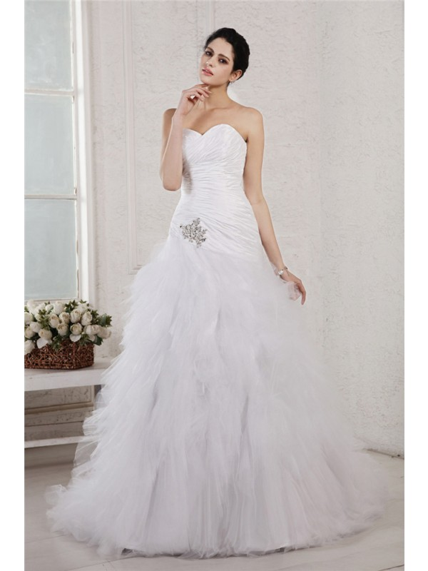 Pretty Looks Princess Style Sweetheart Applique Long Taffeta Net Wedding Dresses
