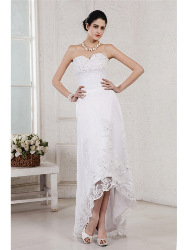 Cheerful Spirit Sheath Style Sweetheart Beading Applique High Low Organza Wedding Dresses