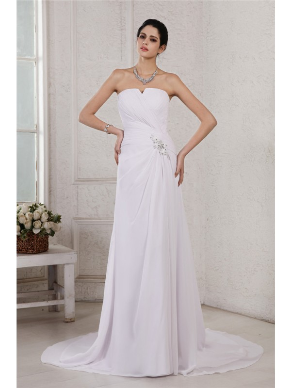 Open to Adoration Sheath Style Strapless Beading Applique Pleats Long Chiffon Wedding Dresses