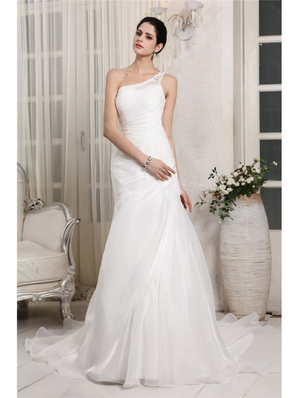 Lively Identity Mermaid Style One-Shoulder Beading Applique Long Organza Wedding Dresses