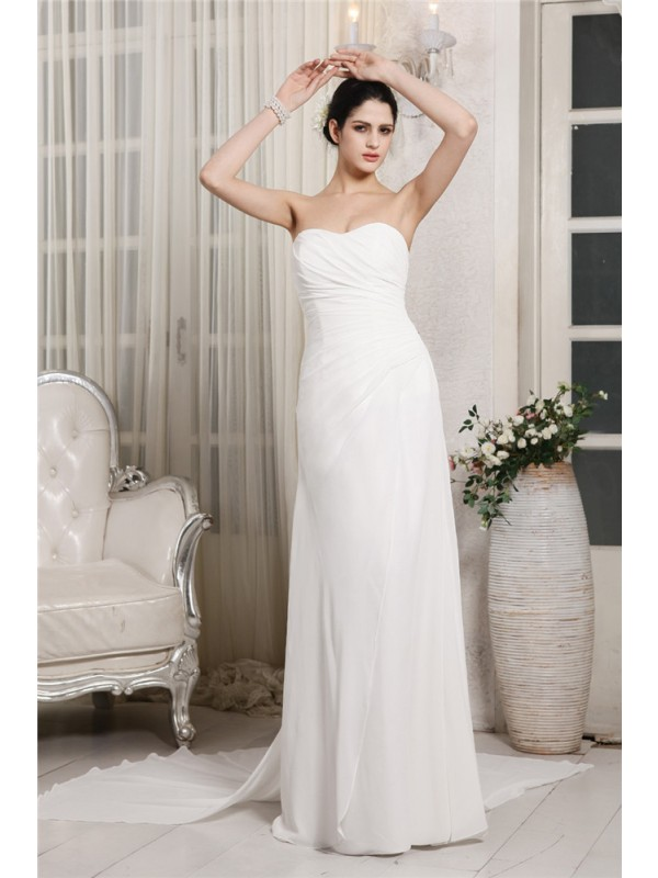 Romantic Vibes Sheath Style Sweetheart Ruffles Long Chiffon Wedding Dresses