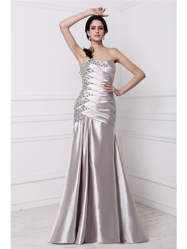 Defined Shine Princess Style Sweetheart Beading Pleats Long Elastic Woven Satin Dresses