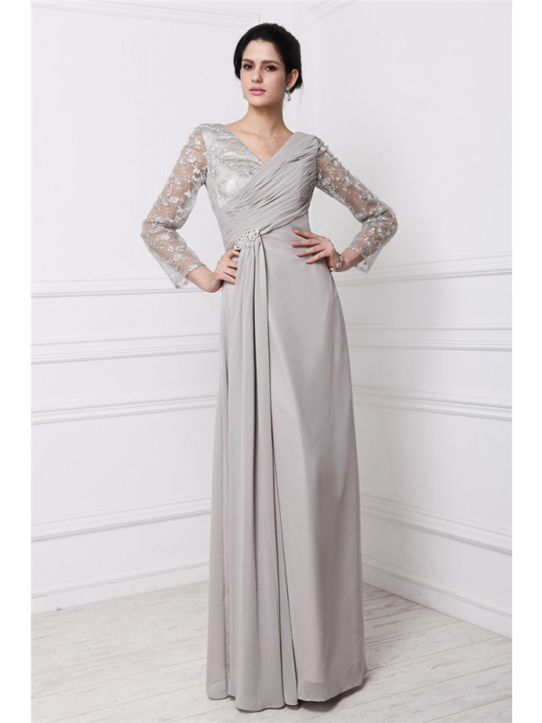 Touch of Texture Sheath Style V-neck Lace Long Chiffon Dresses
