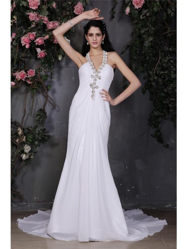 Embracing Grace Sheath Style Halter Beading Ruffles Long Chiffon Wedding Dresses
