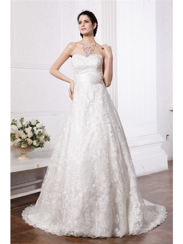 Modern Mood Princess Style Sweetheart Sash Long Lace Wedding Dresses