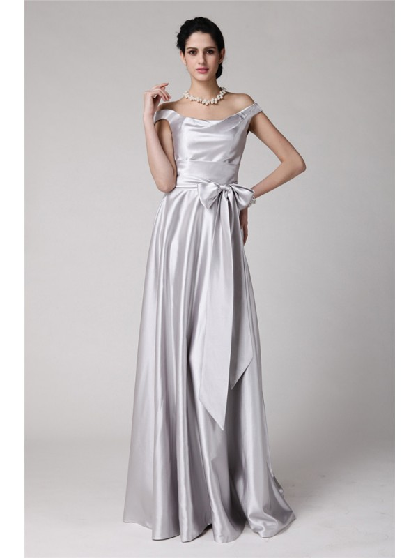 Naturally Chic Sheath Style Off-the-Shoulder Sash Long Elastic Woven Satin Dresses