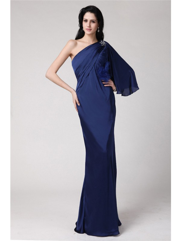 Visual Moment Mermaid Style One-Shoulder Long Feather Chiffon Damask Dresses