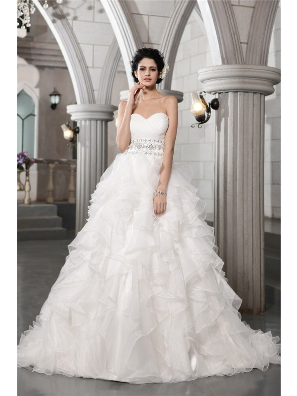 Absolute Lovely Ball Gown Sweetheart Beading Long Organza Wedding Dresses