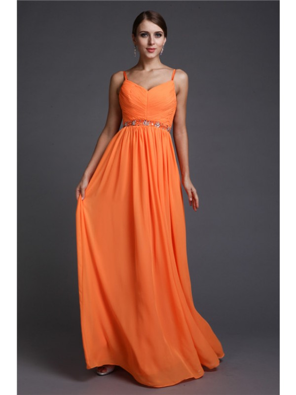 Too Much Fun Princess Style Spaghetti Straps Beading Long Chiffon Dresses