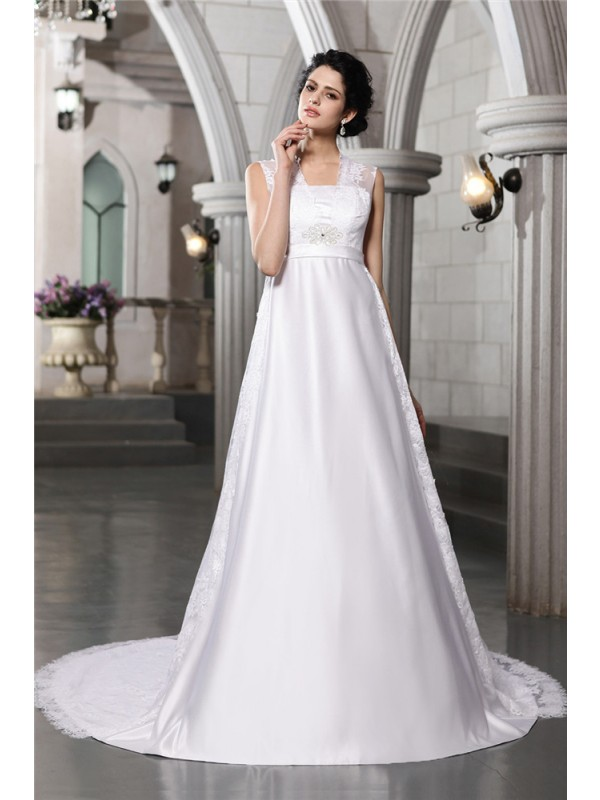 Creative Courage Princess Style Lace Long Satin Wedding Dresses