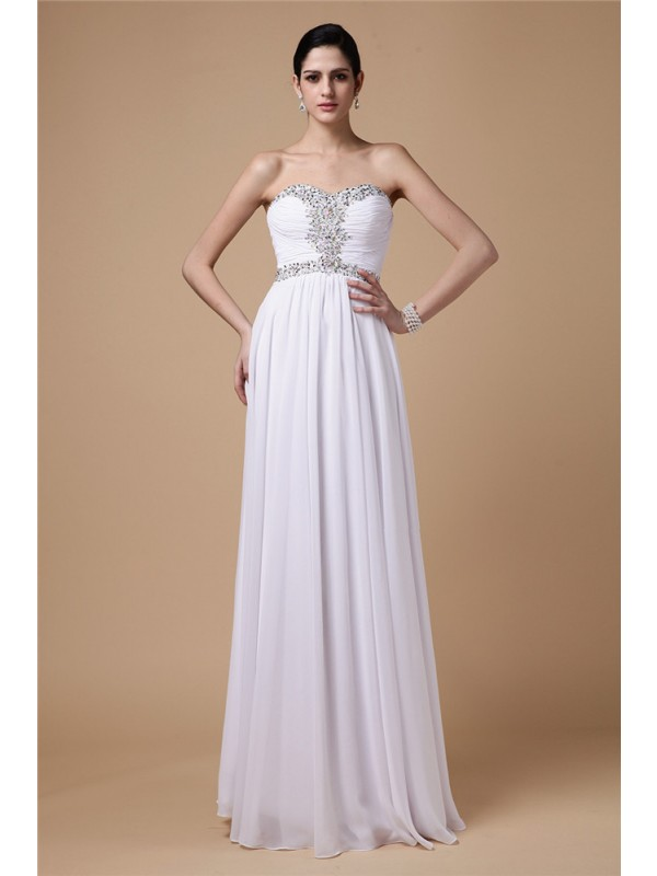 Stylish Refresh Sheath Style Strapless Beading Pleats Long Chiffon Dresses