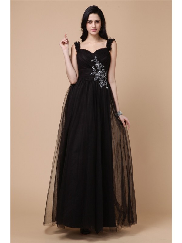 Glitz the Spot Princess Style Straps Beading Applique Net Dresses