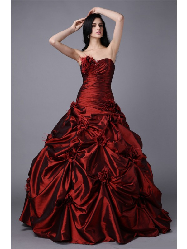 Yours Truly Ball Gown Strapless Hand-Made Flower Long Taffeta Dresses